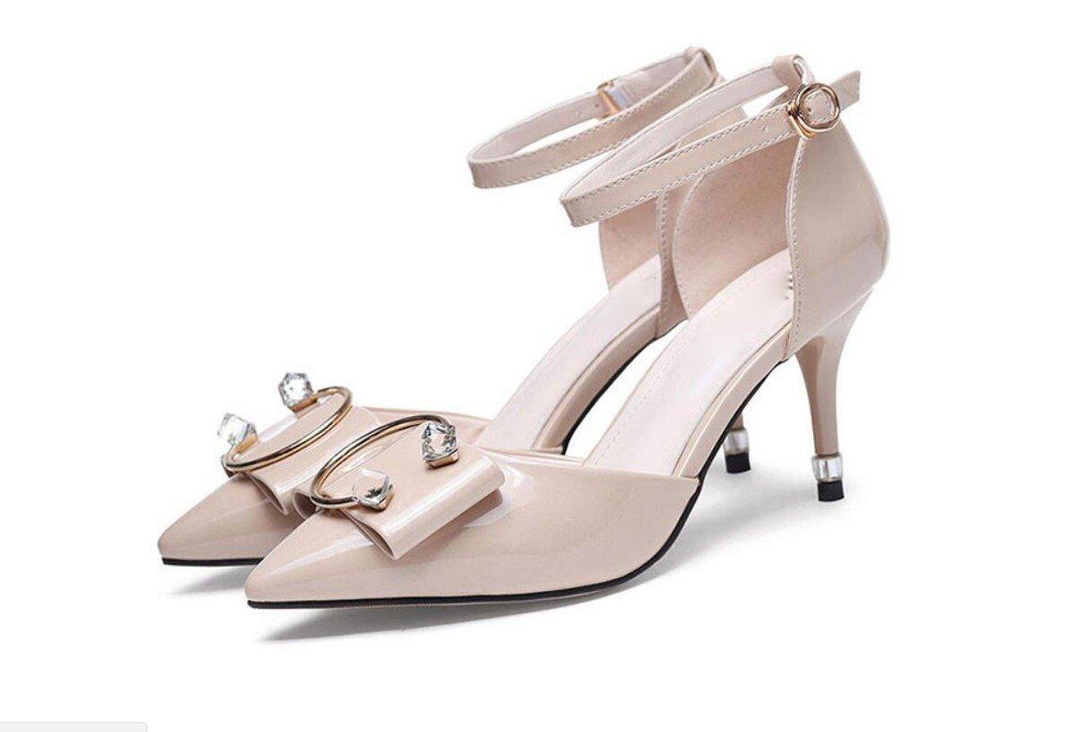 GTVERNH Damenschuhe Im Sommer Baotou Sandalen und Damenschuhe Sind Sexy mit Einem Wort Schlank und 8Cm Hochhackigen Schuhe.