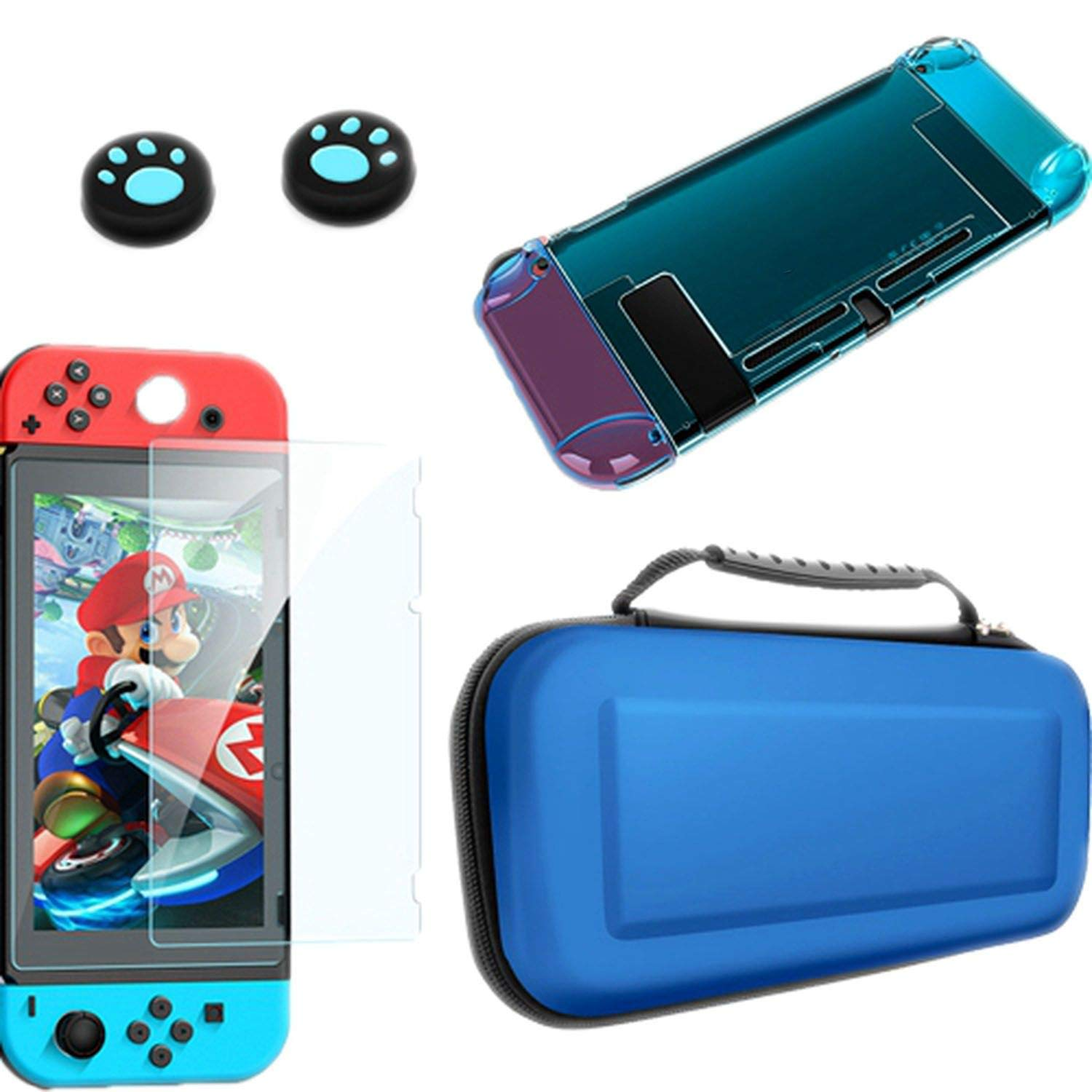 Detachable Crystal PC Transparent Case for Nintendo Nintendo Switch NS NX Cases Hard Clear Back Cover Shell Ultra Thin Bag,Kit 4