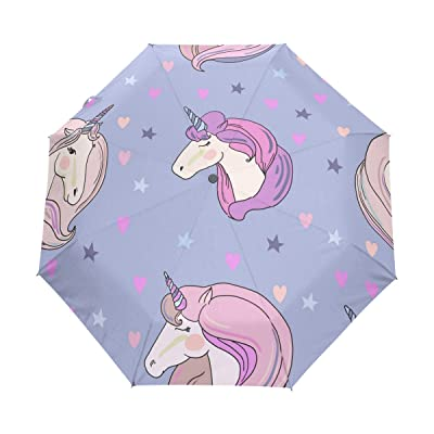 ALAZA Cute Unicorn Star 3 Folds Auto Open Close Anti-UV Umbrella