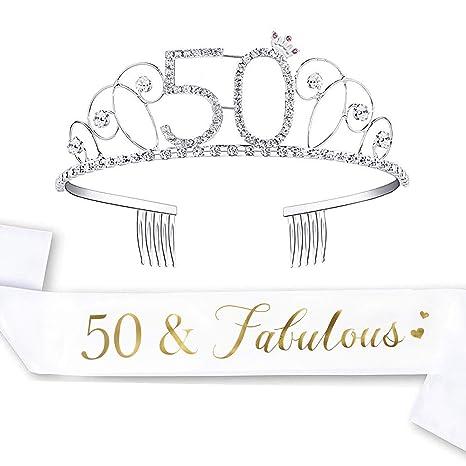 Amazon.com: LAUMAY Kit de 50 cumpleaños y tiara, 50 y ...