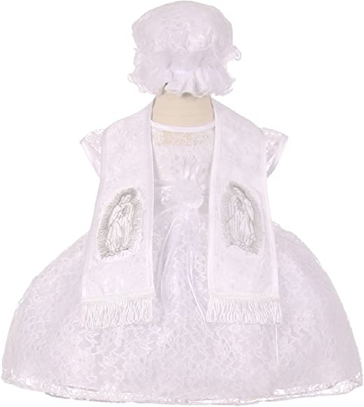 1471b2fcbee BluNight Collection Virgin Mary Embroidered Baptism Infant Little Baby Girl  Dresses (76S14H) White XL