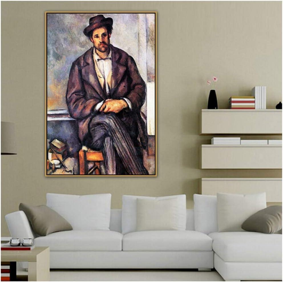 ad Paul Cézanne Viejo Famoso Maestro Artista Sentado Campesino Lienzo Pintura Cartel e impresión para decoraciónArte de la Pared Impresión en Lienzo -50x70cm Sin Marco