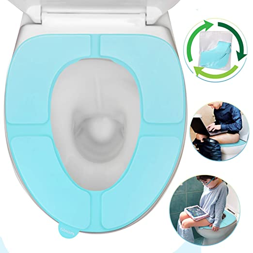 Gimars Reusable Silicon Adults Travel Portable Toilet Seat Covers Protectors For Kids And Toddler Potty Seat Training, Blue by Gimars