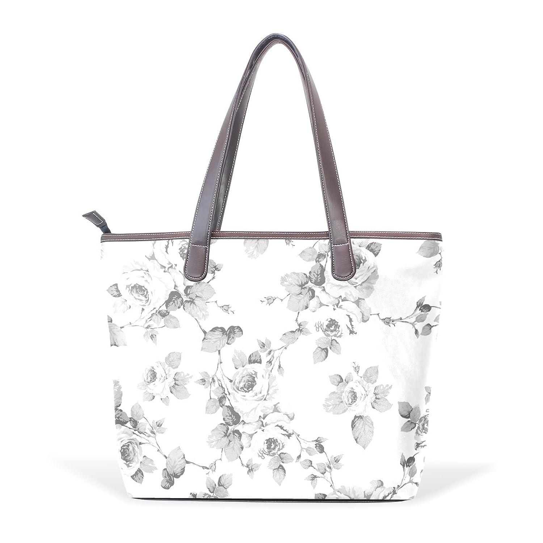 WDYSECRET Black And White Rose Women's Pu Leather Handbag Shoulder Bag Zipper Shopping Bag
