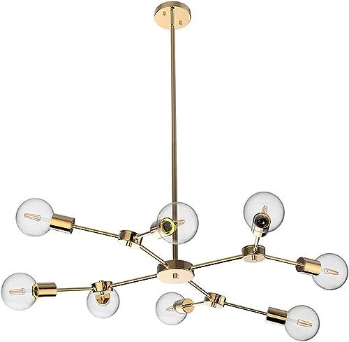 Modern Sputnik Gold Chandelier Mid-Century 8 Light Polished Brass Pendant Light Ceiling Light Fixture for Dining Room Living Room Kitchen Office Caf