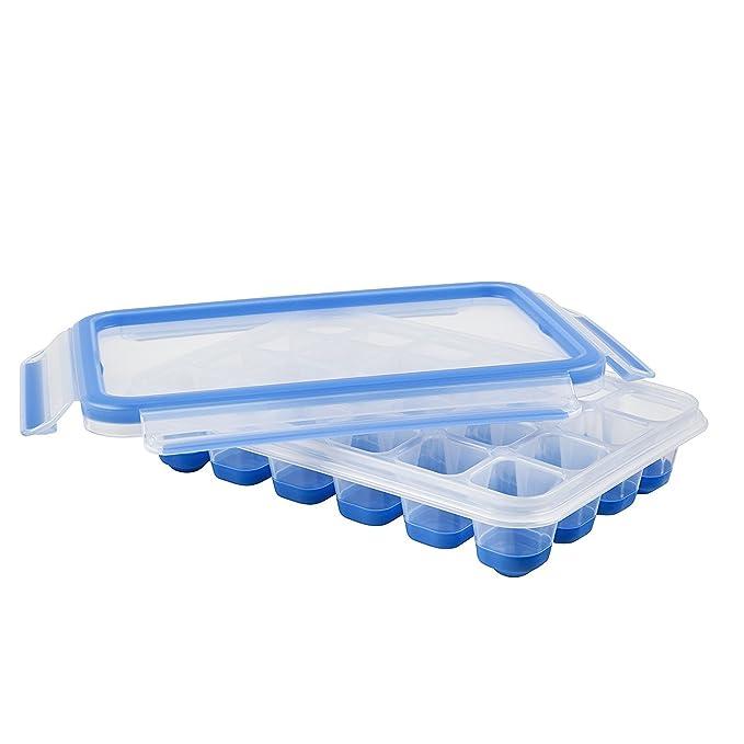 Emsa Clip und Close Eiswürfelbox mit Deckel, kunstoff, transparent/blau, 24 Würfelfächer