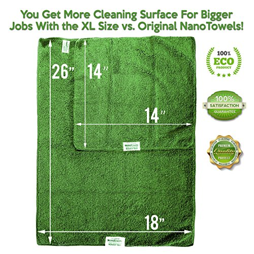 Life Miracle Nano Towels SUPERSIZED The Breakthrough Fabric That Replaces Paper Towels and Toxic Chemical Cleaners. Use As Bath Towels, Kitchen Towels, etc. All Purpose Cleaning Wipes 26x18 by Life Miracle (Image #3)