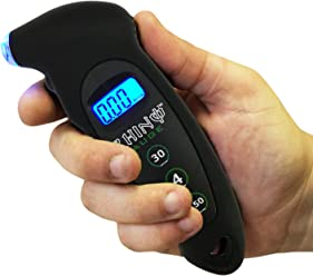RHINO USA Digital Tire Pressure Gauge 150 PSI – Accurate Tire Pressure Gauges with Backlit LCD, Lighted Nozzle and non-slip Grip - Best Guage for Car, Truck, Motorcycle, Bike
