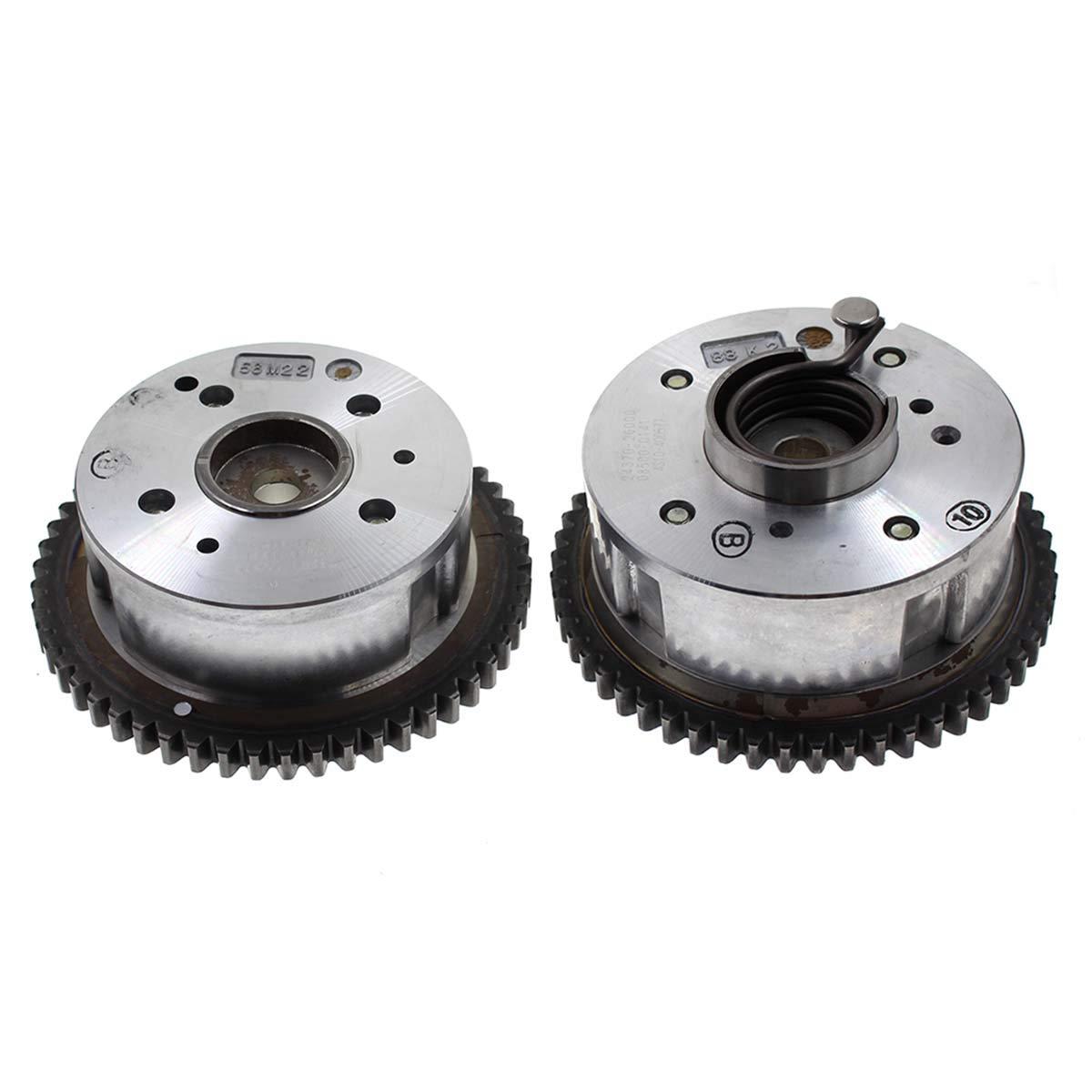 MOTOALL 2pcs Intake Exhaust Camshaft Gear CVVT for 08-14 Hyundai Kia 2.4L for Tucson Forte Optima Rondo 24350-25000 24370-2G000