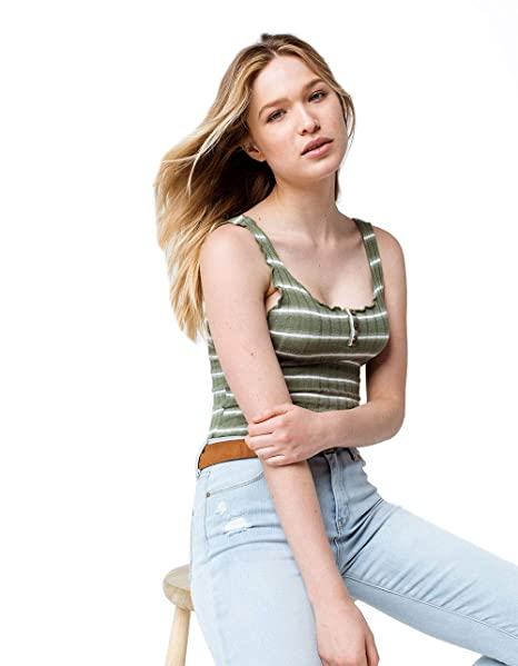 cc761fd7 Sky and Sparrow Stripe Lettuce Edge Henley Olive Tank Top at Amazon Women's  Clothing store: