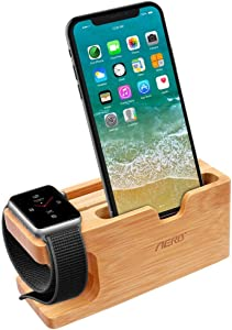 Apple Watch Stand, Aerb Bamboo Wood Charging Stand Bracket Docking Station Cradle Holder W Business Card Slot Phone Stand for iPhone X 8 7 6 Plus 5 5c and Apple Watch 38mm 42mm Series 3 Series 2 Series 1