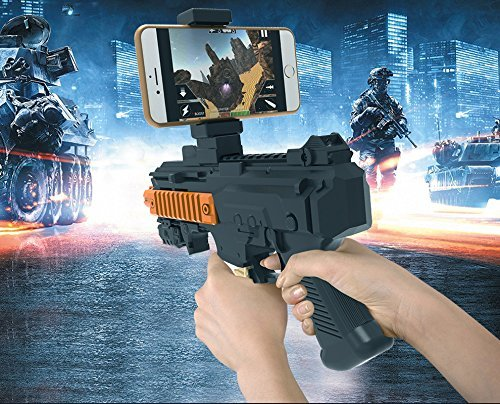 Tekit AR Game Gun with Cell Phone Stand Holder Portable Plastic AR Toy Game Gun with 3D AR Games for iPhone Android Smart Phone(Black)