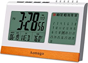 Digital Alarm Clock Battery Operated for Bedrooms, Aomago Desk Clock Office with Snooze, Calendar, Temperature Display(?/?)