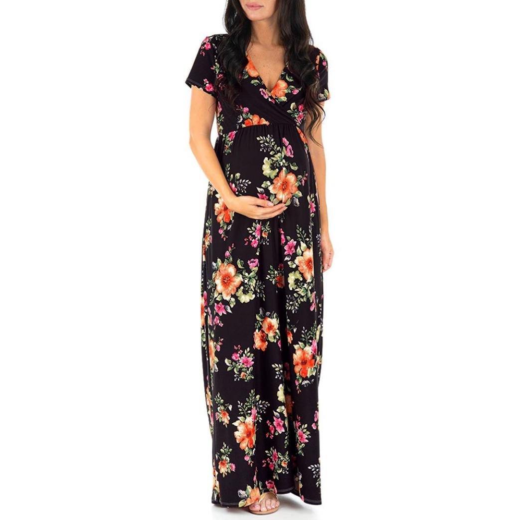 9078fa9504b2c Amazon.com: Pregnant Dress,WensLTD Pregnant Womens Nursing Pregnancy Dress  Floral Printing Maternity Long Dress: Clothing