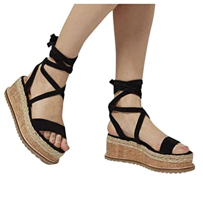 4a8c2ad5c098 Inkach Lace-Up Wedge Sandals ❤ Fashion Womens Summer Chunky Heeled Platform  Sandals Thick