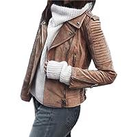 FOBEXISS Chaqueta para mujer con cuello de muesca con cremallera para motociclista, casual, abrigo corto