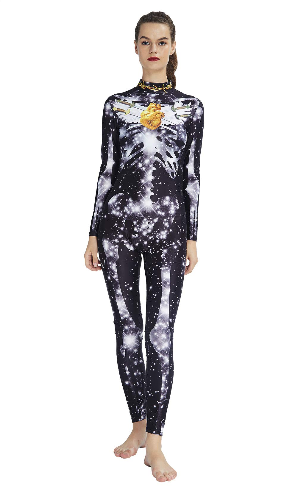 RAISEVERN Festival Clothing Black Jumpsuit Hombres Mujeres Slim Fit Starlight Skeleton Catsuits Disfraz de Halloween