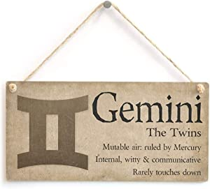 "Hty Gemini The Twins - Beautiful Spiritual Gift Astrology Sign of The Zodiac Plaque 10"" X 5""(25x12.5 cm)"