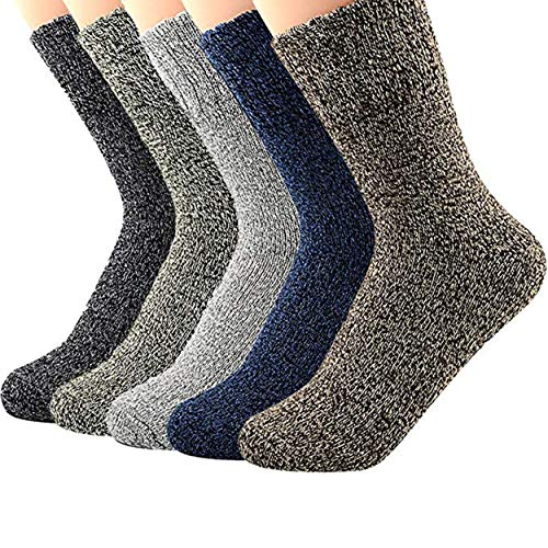 Century Star Women's Vintage Winter Soft Wool Warm Comfort Cozy Crew Socks 5 Pack 5 Pairs Solid -