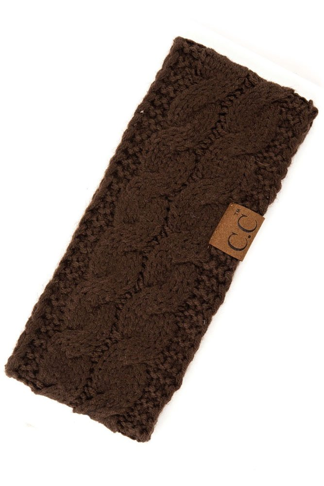 ScarvesMe C.C Womens Sherpa Lined Winter Cable Knit Headband Headwrap (Brown)