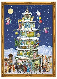 Victorian Winter Villagers in Front of Christmas Tower German Advent Calendar