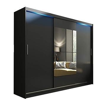 Schwebetürenschrank schwarz matt  Schwebetürenschrank Kola mit Spiegel, LED-Beleuchtung ...