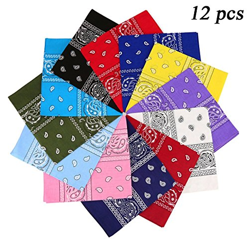 (Ecseo Paisley Bandanas for Men and Women, 100% Cotton Cowboy Headband and Wristband 22x22 inch - 12 Pack)