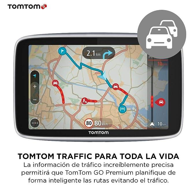 TomTom Go Premium - Navegador Gps 6Žcon Actualizaciones via Wifi, Trafico y Radares para Toda la Vida Mediante Tarjeta Sim Incluida, Mapas del Mundo, ...