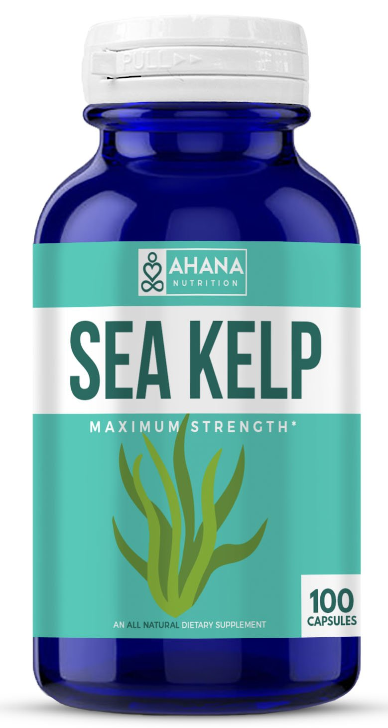 Ahana Nutrition Organic Sea Kelp – Natural Iodine Supplement for Thyroid Support, Energy, Stamina and Hair and Nail Health (150mcg - 100 Capsules)