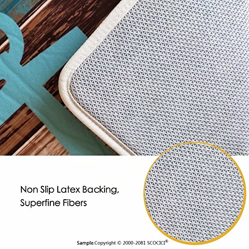 """Lantern Floor Mat for kids Three Paper Lanterns Hanging on Branches Lighting Fixture Source Lamp Boho Customize door mats for home Mat 16""""x24'' Teal Pale Yellow by lacencn (Image #4)"""