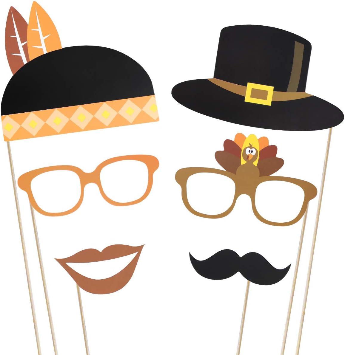 CHEPL DIY Selfie Props 36 Pi/èces Thanksgiving photomaton Chapeau Barbe Props /Él/ément de Citrouille Dinde Pain Ma/ïs Fruits Feuilles d/Érable pour Thanksgiving Party D/écorations