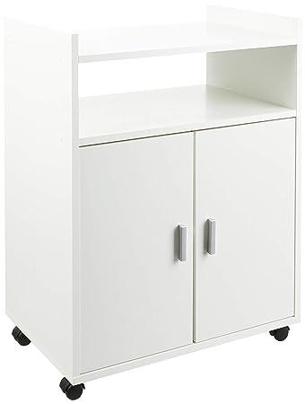 Samblo Weißer Küchenwagen mit Rädern und 2 Türen für in melamin ...