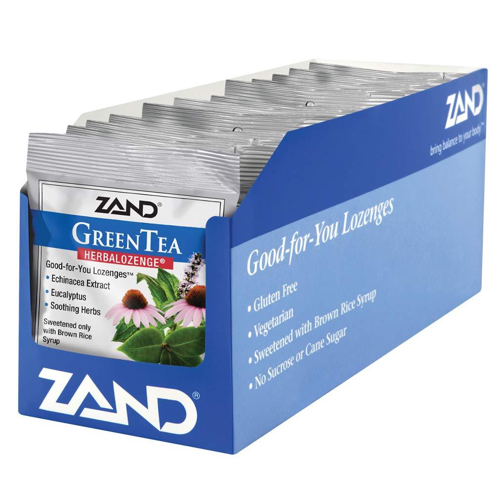 Zand Herbalozenge, Green Tea Echinacea, 15 Count Bags, 12 Count