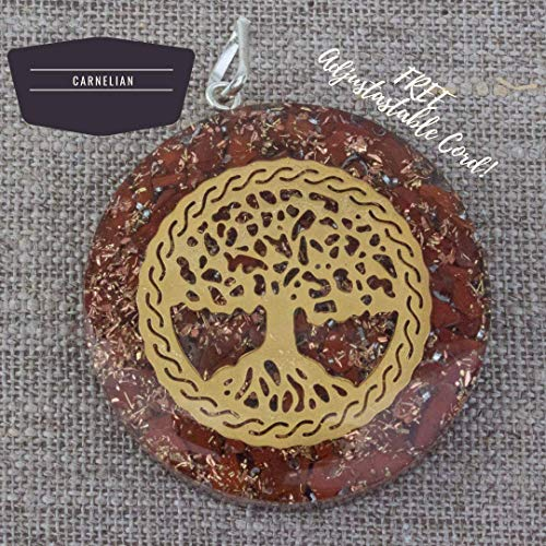 (Orgonite Chakra Energy Web Tree of Life Orgone Pendant – Revitalization and Relaxation Chi-Lapis Lazuli, Carnelian Crystal Necklace- Brass and Copper Tesla Coil Embedded- Unisex)