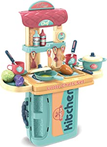 SameTech Kitchen Play Set Kids Cooking Toys Children Mini Kitchen Playset Realistic Miniature Chefs Pretend Play Dessert Food Party Role Toy for Boys Girls
