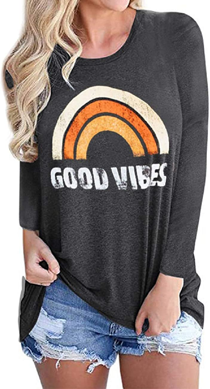 Vaise Womens Good Vibes Tank Tops Short Sleeve and Sleeveless Loose Graphic Tank Tops Casual Summer Rainbow Good Vibes Shirt
