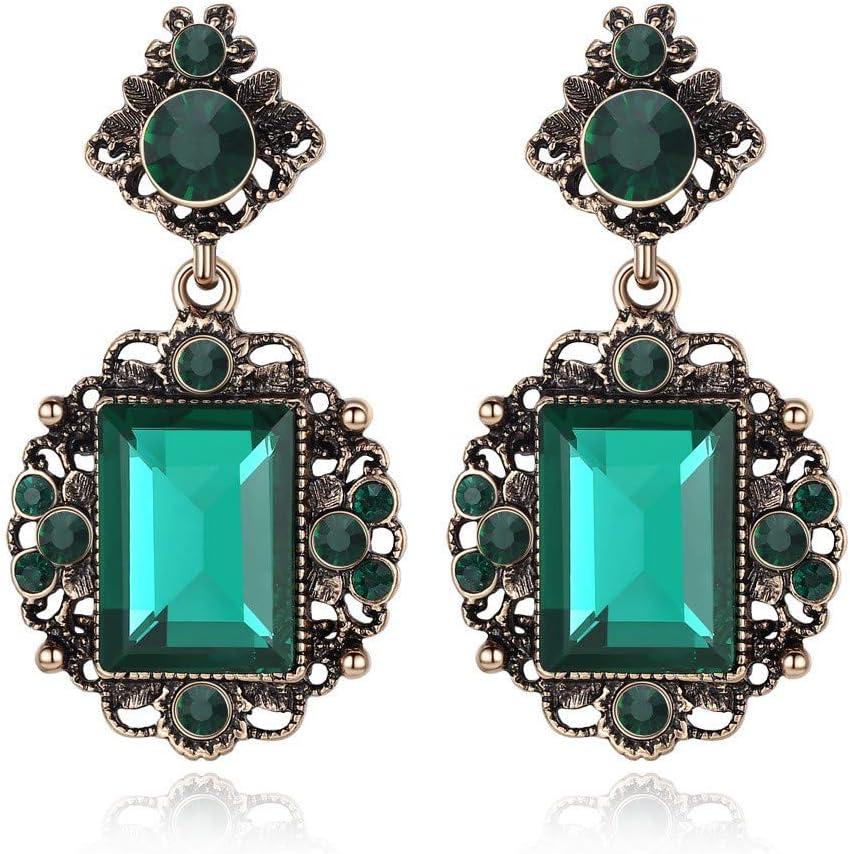 LOJBFD Pendientes Largos de Piedras Preciosas Cuadrados para Mujer con Pendientes de Diamantes