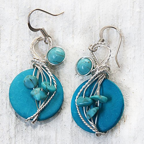 Big Turquoise Dangle Earrings – Funky New Mexico Style Jewelry