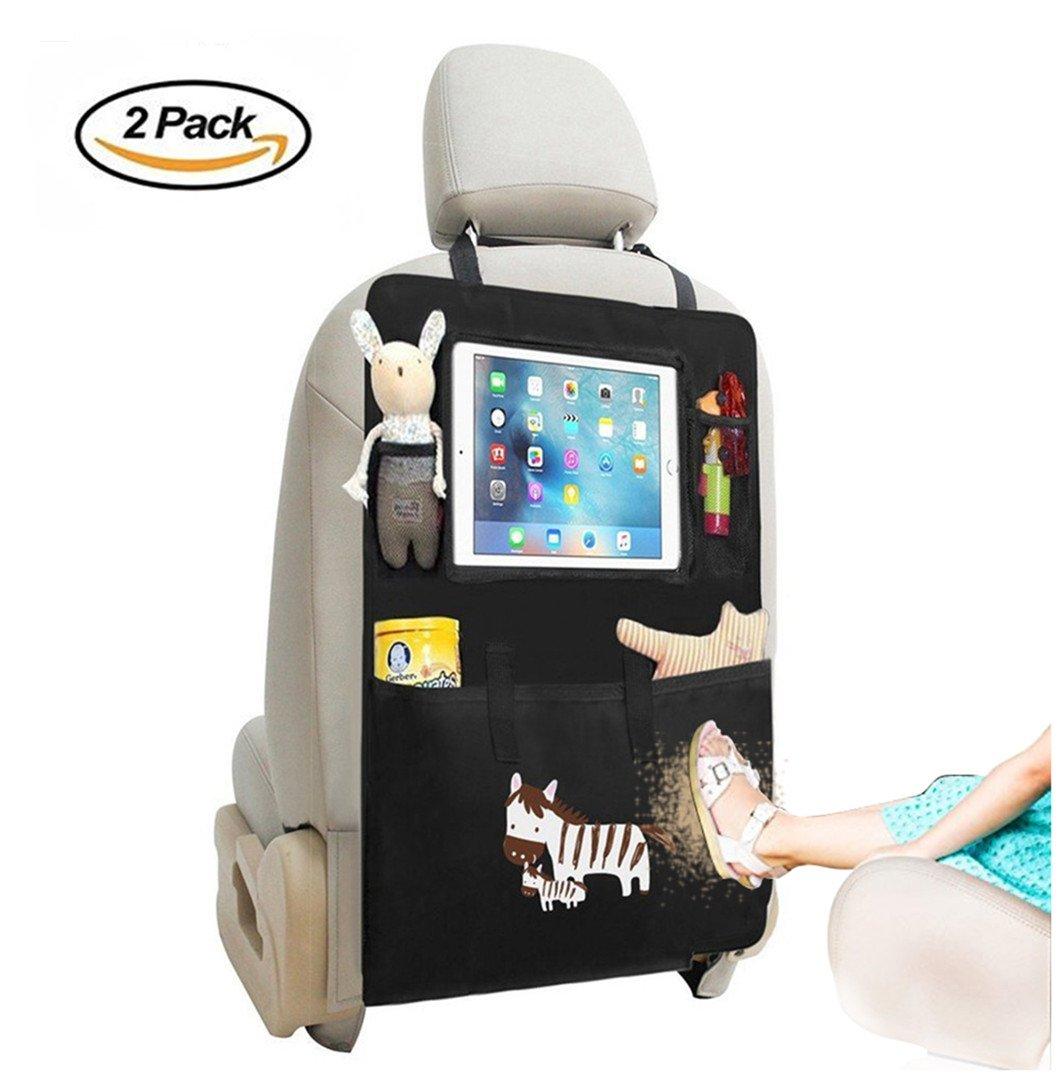 2-pack Car Kick Mats Seat Protector Organizador con Tabletas de pantalla táctil iPad Holder, multi-bolsillo impermeable Backseat Organizador para Niños (Zebra-2pcs) lutuo