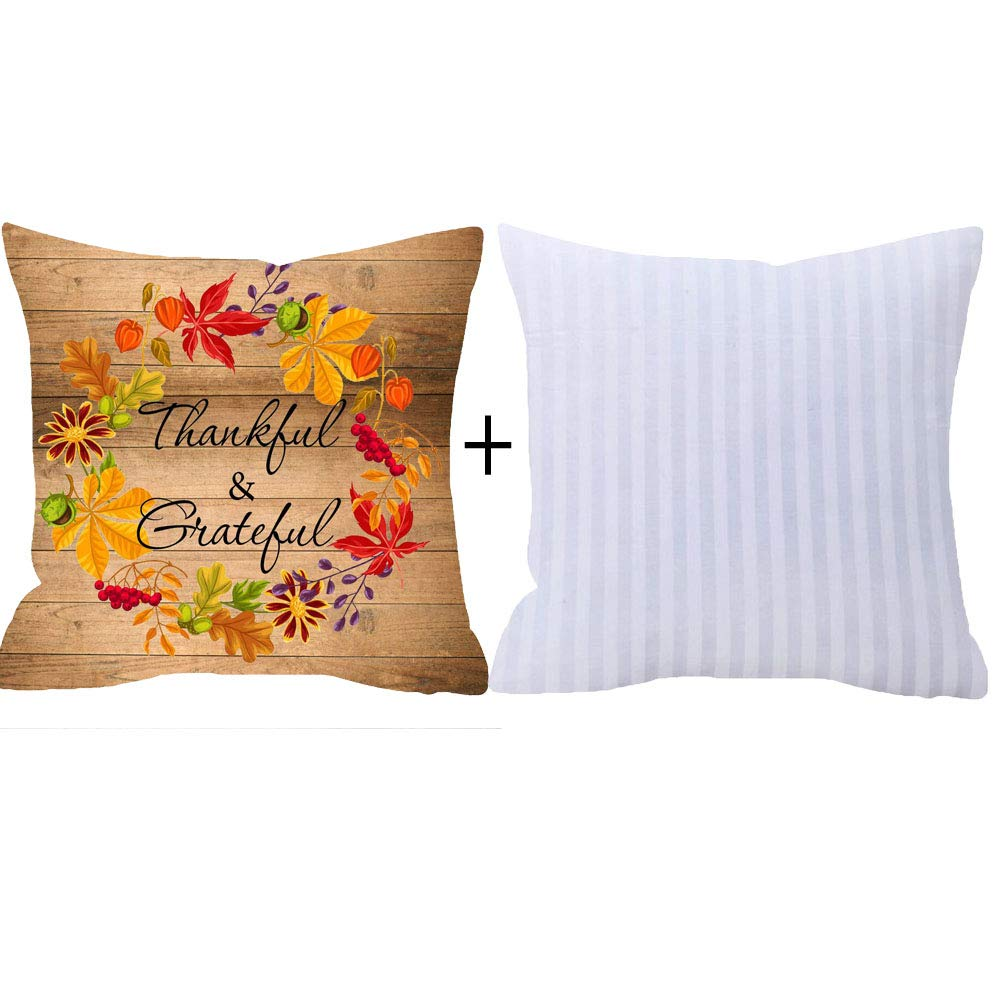 NIDITW Nice Gift Autumn Blessing Fall Leaves Wreath Thankful and Grateful Vintage Wood Texture Cotton Burlap Linen Throw Pillow Case Cushion Cover with Insert Sofa Home Decorative Square 18 inches