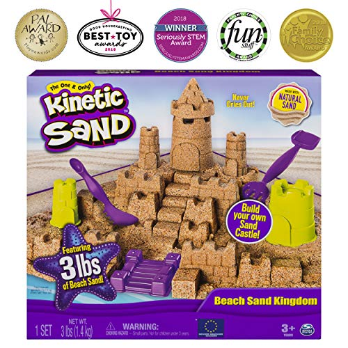 - Kinetic Sand Beach Sand Kingdom Playset with 3lbs of Beach Sand, for Ages 3 and Up