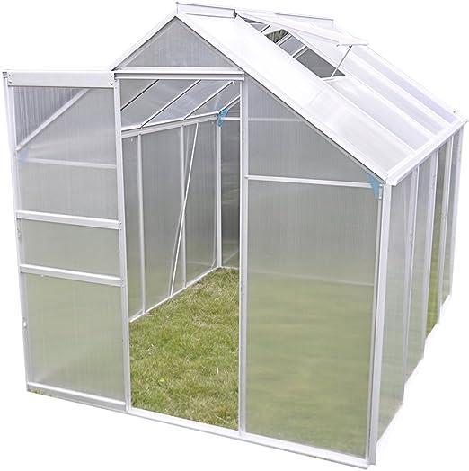 Panana invernadero policarbonato y carcasa de aluminio de doble pared con crecer casa con puerta corredera y ventana de ventilación: Amazon.es: Jardín