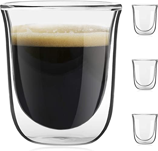 JoyJolt Javaah Double Wall Insulated Glasses 2 Ounce Set of 4 Espresso Cups
