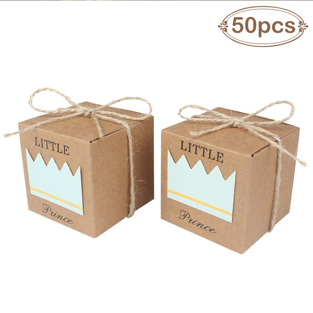 AerWo 50pcs Little Prince Baby Shower Favor Boxes + 50pcs Twine Bow, Rustic Kraft Paper Candy Bag Gift Box for Baby Shower Party Supplies Cute 1st Birthday Boy Decoration, Blue