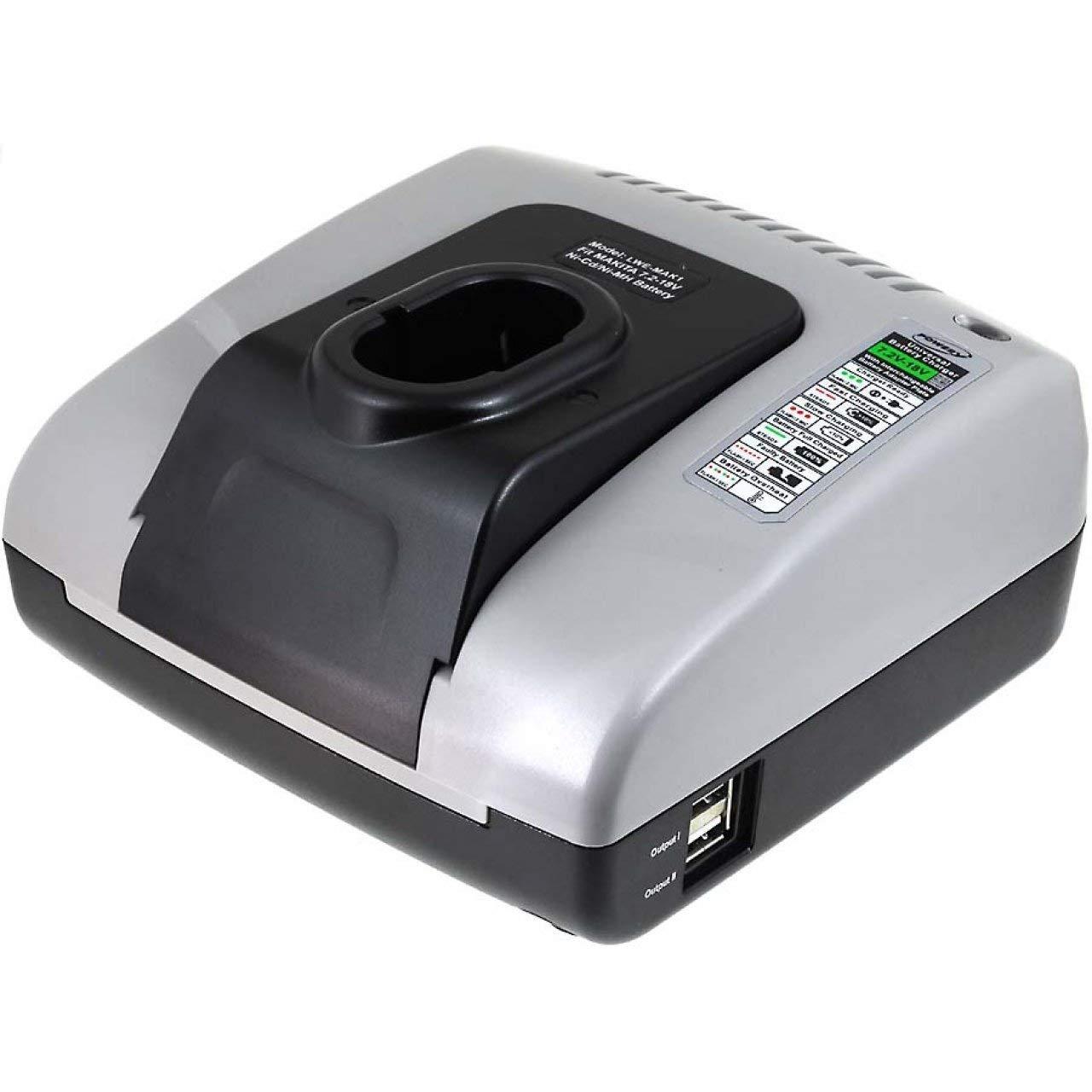 7,2V-18V akku-net Akku-Ladeger/ät mit USB f/ür Makita Elekronik-Bohrschrauber Power-Line 6317D