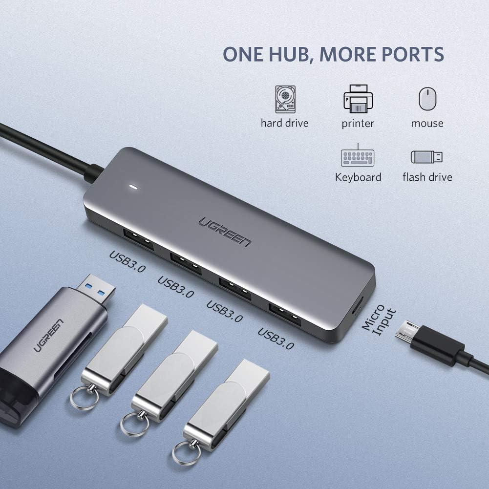 Bundle Nylon Braided UGREEN USB C Hub 4 Ports USB Type C to USB 3.0 Hub Adapter with Micro USB Cable 6ft 2Pack