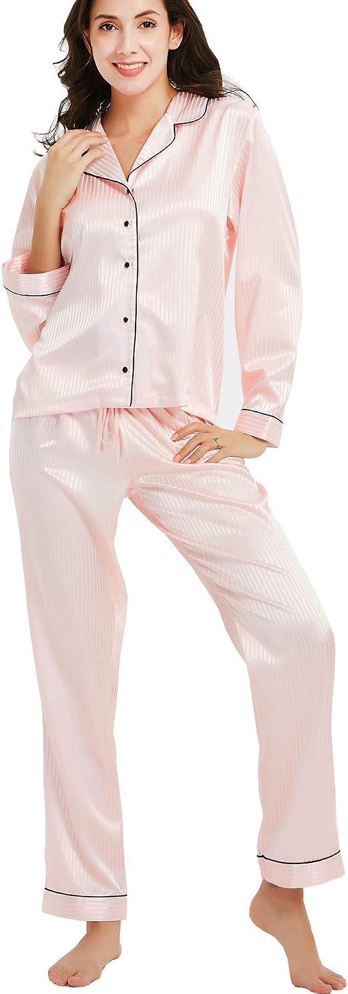 New Dance Pijamas Saten Mujer Manga Larga Set Ropa de Dormir Elegante Ladies Silk Pyjama Set Pijamas Sleepwear Loungewear