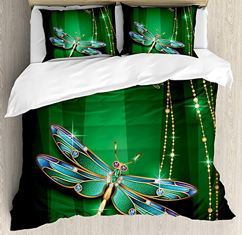 Dragonfly 4 Piece Bedding Set Twin Size, Elegance Vivid Figures in Gemstone Crystal Diamond Featured Artsy Effects, Duvet Cover Set Quilt Bedspread for Childrens/Kids/Teens/Adults, Gold Hunter Green