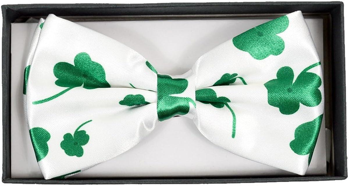 Patricks Day Collection Parquet Mens Shamrock adjustable Bow Tie St