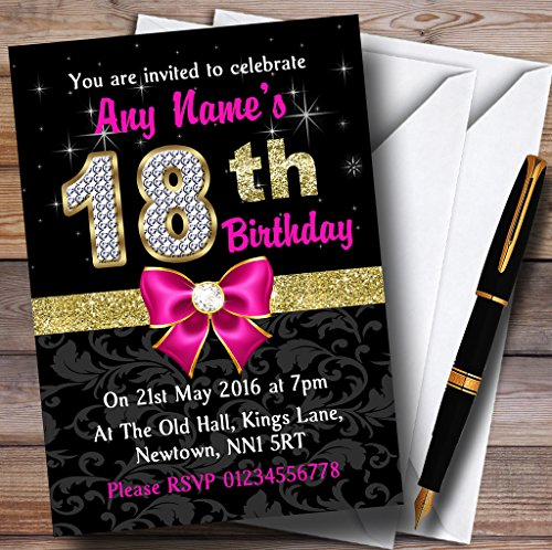 Pink Black Gold Diamond 18Th Birthday Party Personalized Invitations